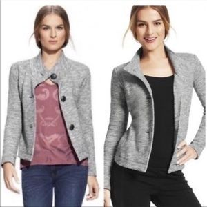 CAbi Hourglass Heather Gray Button Hi Low Jacket